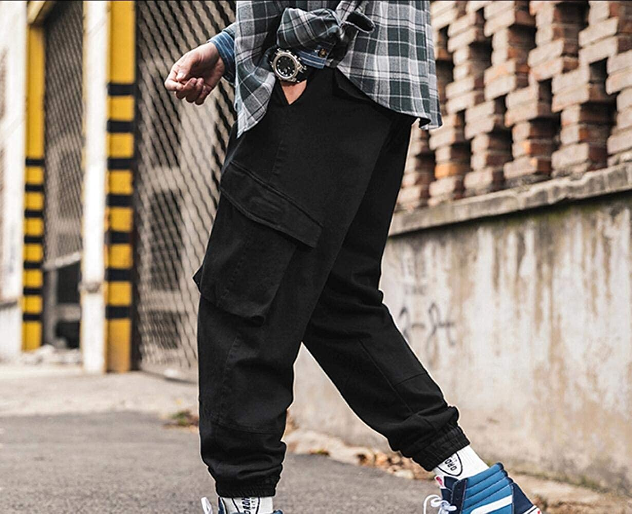 FieerMen Casual Tenths Pants Harem Big Pockets Skinny Ankle Cargo Pants