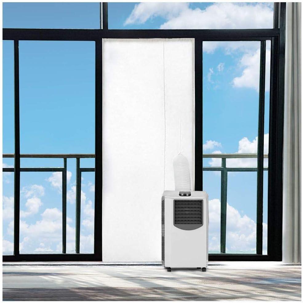 SHE AirLock SHE02AIRSTPST - Junta para puerta para dispositivos de aire acondicionado móviles y secadores de aire, con cremallera, apto para puertas correderas, color blanco: Amazon.es: Bricolaje y herramientas