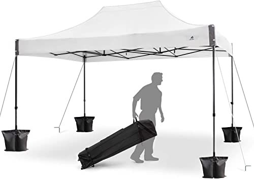 FinFree 10×15 FT Pop Up Canopy Tent Commercial Instant Canopy with Roller Bag,6 Walls and Weight Bags, White