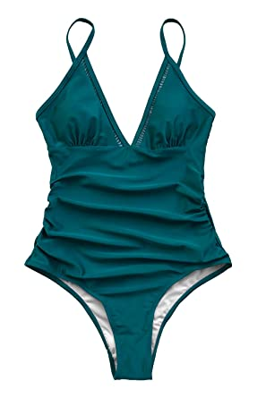2a554b329a CUPSHE Women s Shirring Design V-Neck Low Back One Piece Swimsuit (X-Small