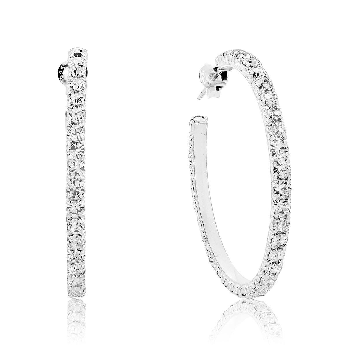 e9aab8556af DTPSilver - 925 Sterling Silver Half Hoops Earrings with Swarovski Crystal  Elements - Colour   Clear - 38 mm  Amazon.co.uk  Jewellery