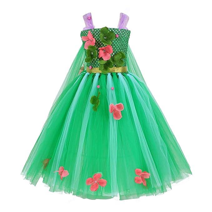 4b26fa544 Freebily Vestido Flores Niñas Disfraces de Princesa Reina con Capa ...
