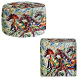 Foot Stools Poufs Chairs Round or Square from DiaNoche Designs by Karen Tarlton - Abstract Wild Horses