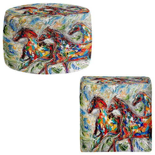 Foot Stools Poufs Chairs Round or Square from DiaNoche Designs by Karen Tarlton - Abstract Wild Horses by DiaNoche Designs