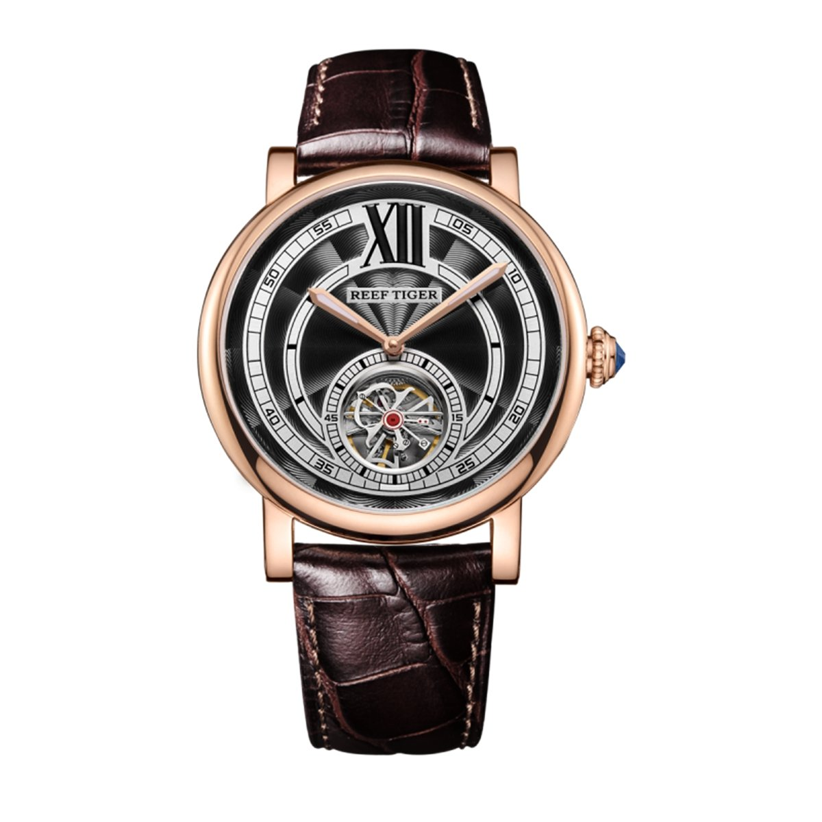 Reef Tiger Casual Automatic Watches for Men Rose Gold Leather Strap Tourbillon Watches RGA192 (RGA192-PBS)