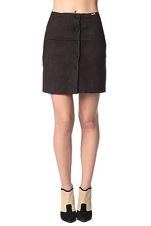 Q2 Mujer Mini Falda de Ante Negra con Botones delateros - XS ...
