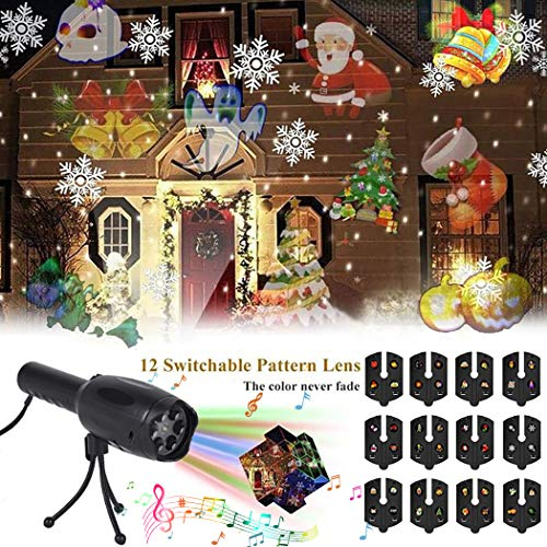 LED Projector Lights, B bangcool Musical Laser Christmas Lights, 2 in 1 Portable Decoration Light & Night Light Projector with Tripod, 12 Slides Outdoor/Indoor Holiday