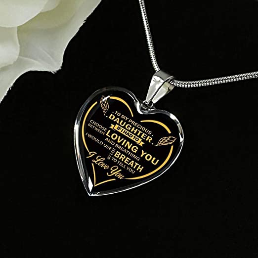 I Love My Mom Birthday Necklace Gift Vuvuzi Tee to My Daughter Necklace Heart from Mom