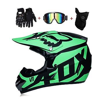 815fb43560 LEENY Motocross Cascos de Motos con Gafas Guantes Máscara, Cascos de Cross  Motocicleta DH Off