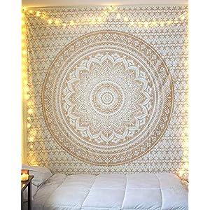 Jaipur handloom Twin Golden Ombre Tapestry wall hanging Gold tapestry Dorm Decor Mandala Tapestry Metallic Hippy Wall…