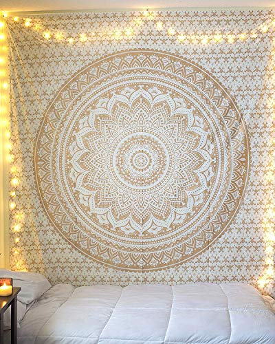 RSG Venture Exclusive Original Gold Ombre Tapestry Ombre Bedding, Golden Sparkling Mandala Tapestry, Metallic Shine Queen Indian Mandala Wall Art Hippie Wall Hanging Bohemian Bedspread (Gold Ombre)