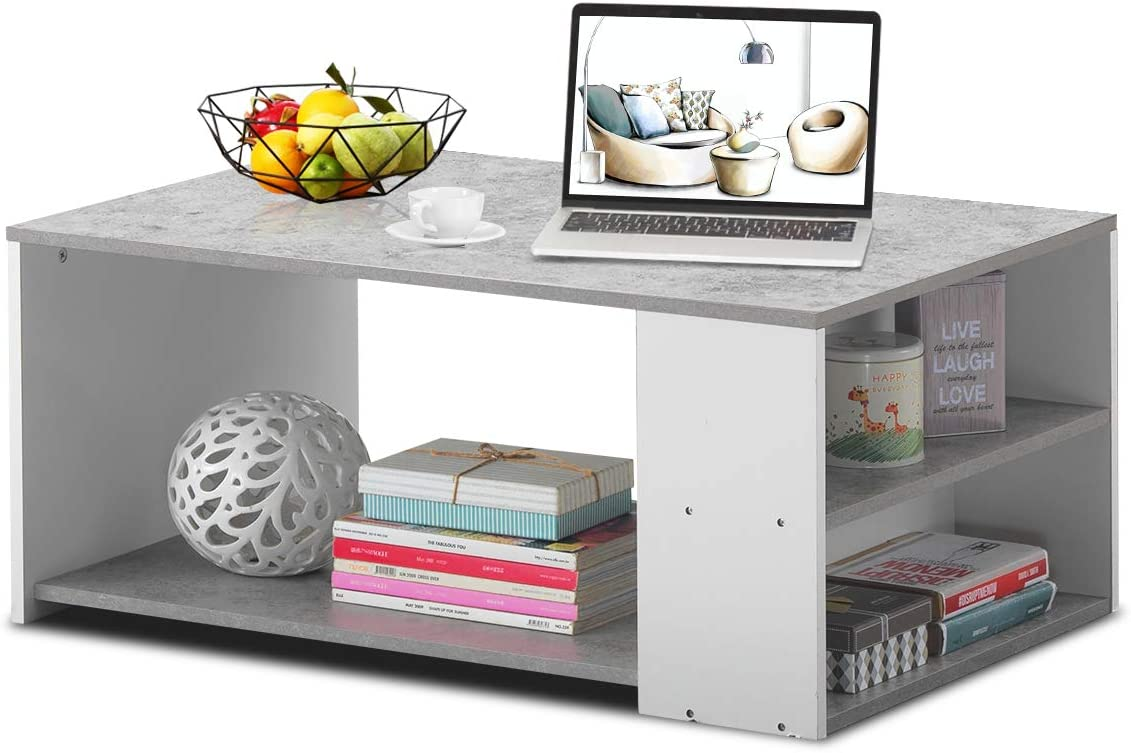 Giantex Coffee Table with Storage Shelves Stable Frame,Smooth Surface Extra Storage Space,Snack Table Ideal for Office and Living Room Tea Table Gray
