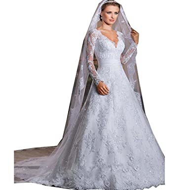Thrsaeyi Womens Long Sleeves Lace Mermaid V-Neck Wedding Dresses Bridal Gowns
