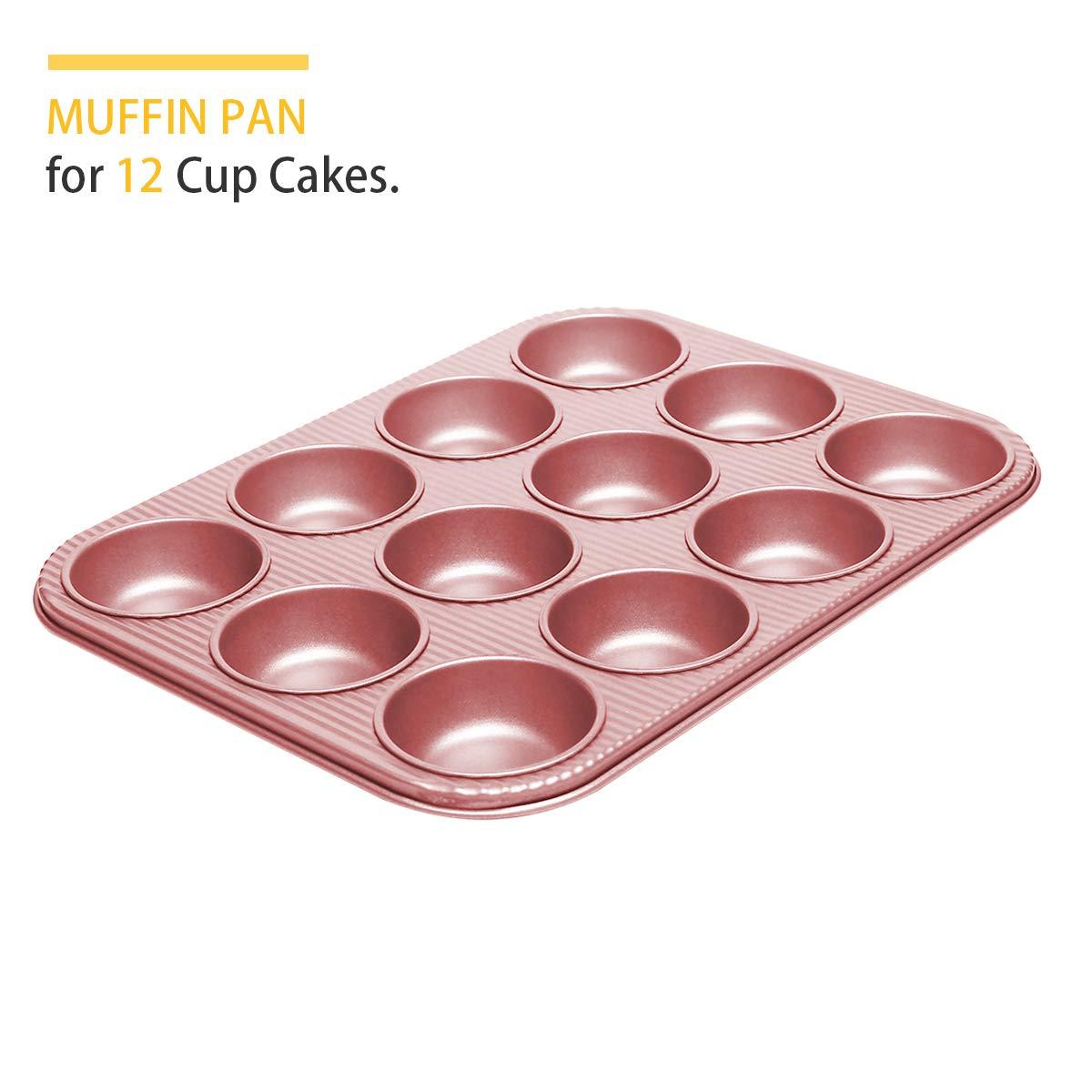 Bakeware Set, TOPTIER 6 Piece Nonstick Baking Pan Sets with Cookie Baking Sheets, Muffin Pan, Loaf Pan, Round Cake Pan, Roasting Pan for Baking | Prime Housewarming & Wedding Gift, Rose Gold by toptier (Image #3)