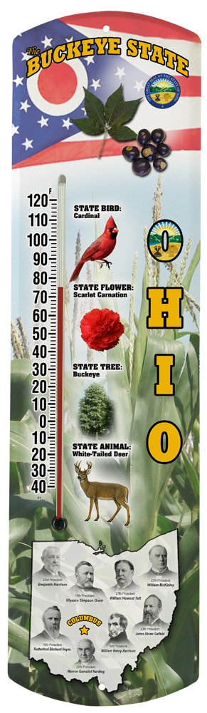 Heritage America by MORCO 375OH Ohio Outdoor or Indoor Thermometer, 20-Inch