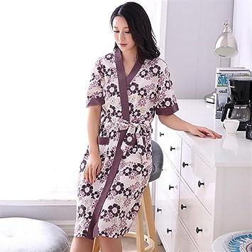 Ari_Mao Albornoz de algodón de Las Mujeres Albornoz de Daisy Patttern del camisón Encantador de la Bata de casa del pañal: Amazon.es: Hogar