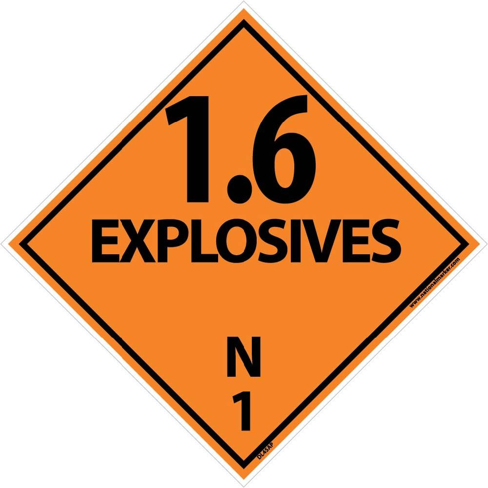 DL45AP National Marker Dot Shipping Labels, 1.6 Explosives, 4 Inches x 4 Inches, Ps Vinyl, 25/pk (Pack of 25)