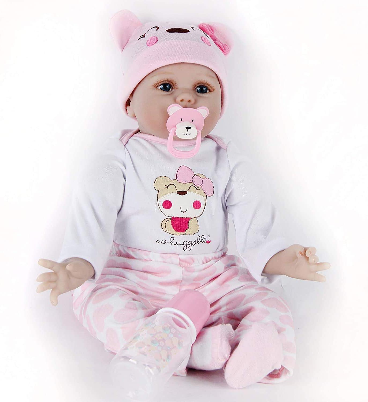 22 Inch Reborn Baby Girl Dolls Reborn Toddler Doll Soft Vinyl Silicone Real Life Like Looking Newborn Dolls Toy Reborn Babies