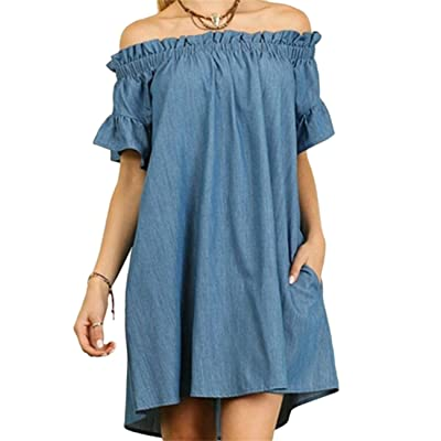 Femmes Fashion Off épaule robe Sexy manches courtes One-Piece Jean Cowboy robe jupe
