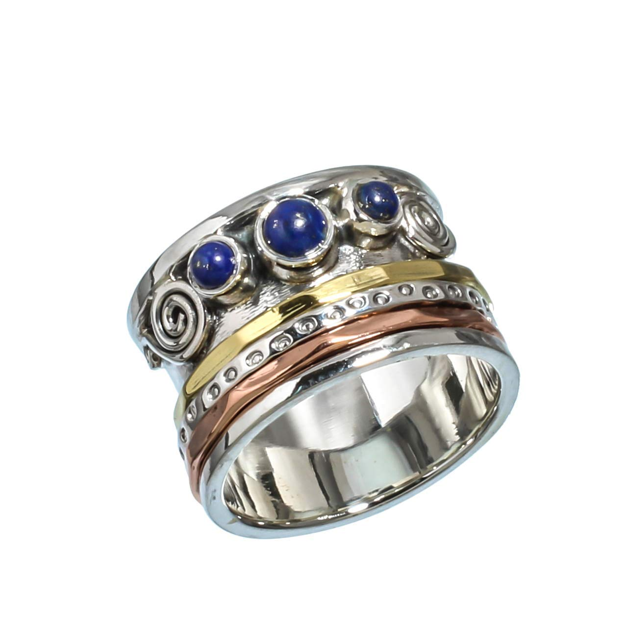 Anillos de plata de banda ancha para mujer,Kanika Jewelry Trove Lapis Lazuli Vintage Style 925 Solid Sterling Silver Jewelry Spinner Ring