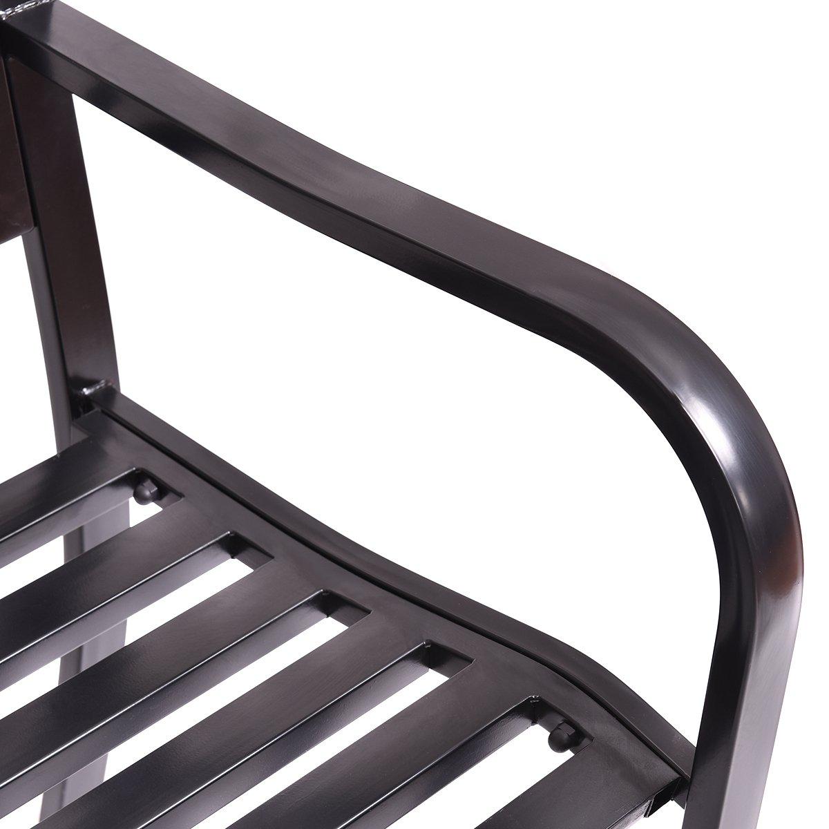 Giantex 50'' Patio Garden Bench Loveseats Park Yard Furniture Decor Cast Iron Frame Black (Black Style 1) by Giantex (Image #9)