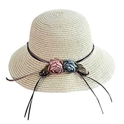 1400e803 Amazon.com : NEARTIME Women Straw Beach Hat-Summer Foldable Cap Ladies  Casual Solid Color Wide Brimmed Floppy Cute Hat : Sports & Outdoors
