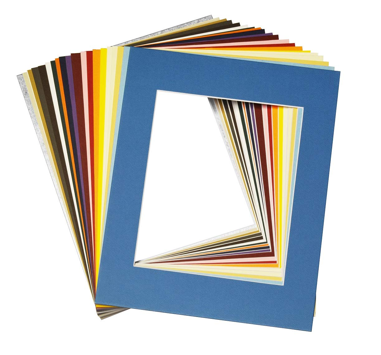 Mat Board Center, Pack of 20 11x14 MIXED COLORS White Core Picture Mats for 8x10 Photos by MBC MAT BOARD CENTER