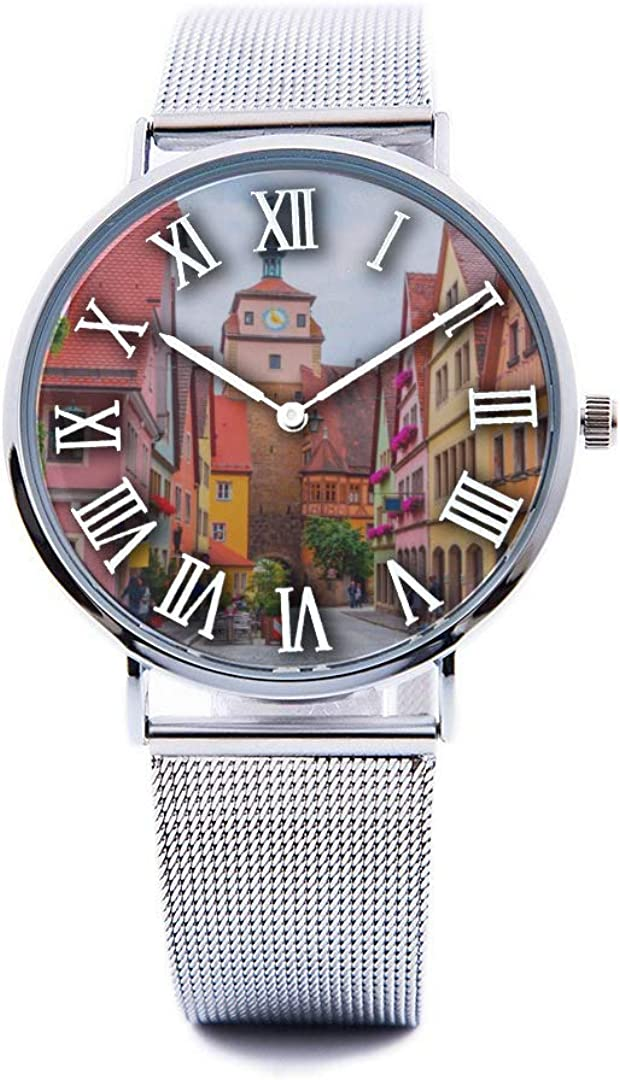 Unisex Fashion Watch German City Free Travel Romantic Color Print Dial Quartz Stainless Steel Wrist Watch with Steel Strap Watchband for Men Women 40mm Casual Watch