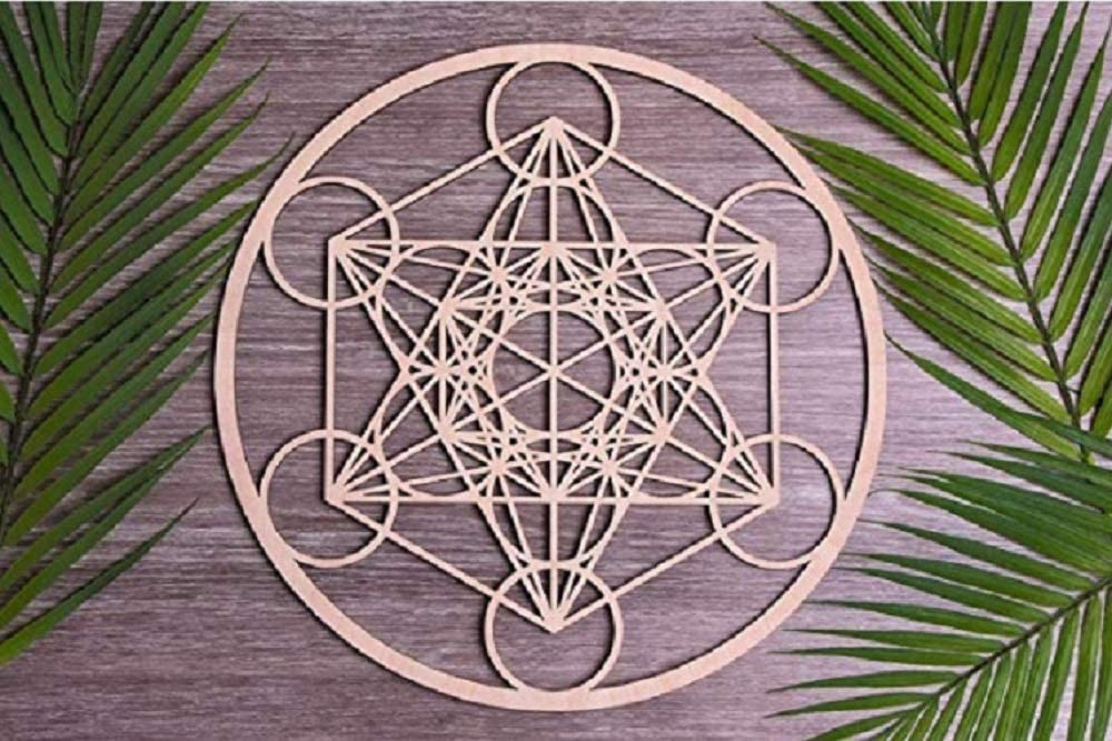 T one woods Crystal Metatron Sacred Geometry Wall Art (11 inch) | Decor Positive Energy Decor | Seed of Life | Crystal Grid Board | grids for Crystal (Metatron Forged)