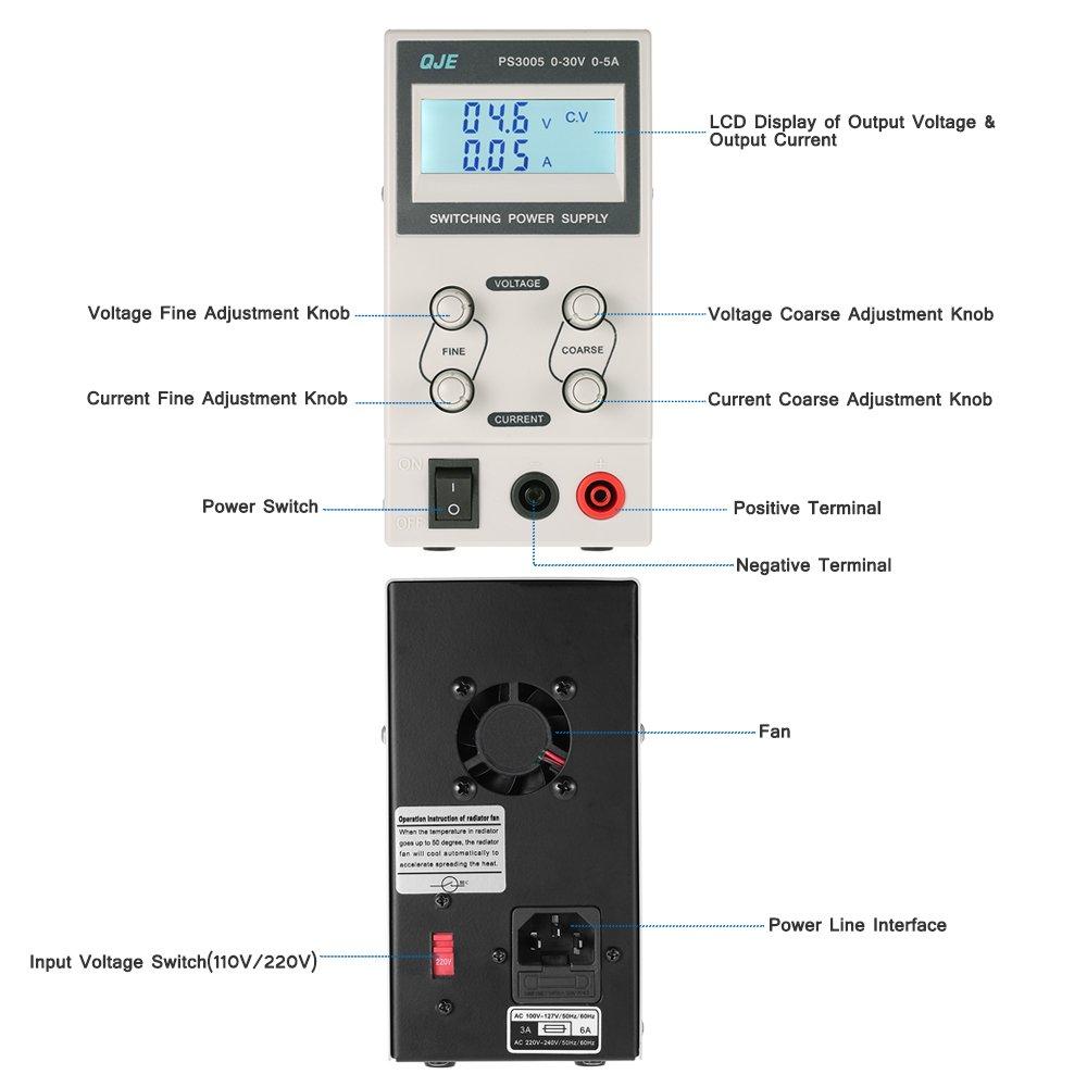KKmoon 0-30V 0-5A 3 Fuente de Alimentación Dígitos Variable Digital Regulado Dc Traspuesta Ajustable Salida Voltaje Corriente Lcd Monitor Ue Enchufe: ...