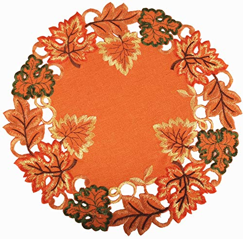 """GRANDDECO Harvest Fall Table Placemat 14"""" Set of 4,Cutwork Embroidered Maple Leaves Dresser Scarf Table Topper for Thanksgiving"""