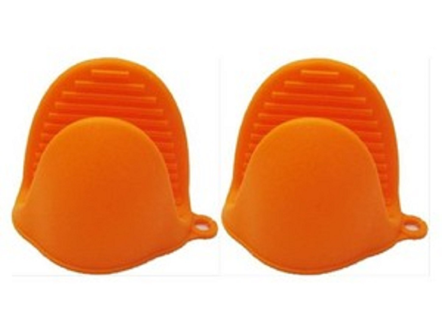 Kitch N' Wear - Silicone Pot Holder Oven Mini Mitt 1 Pair (2pc), Cooking Pinch Grips - Heat Resistant - (Orange) Kayco USA