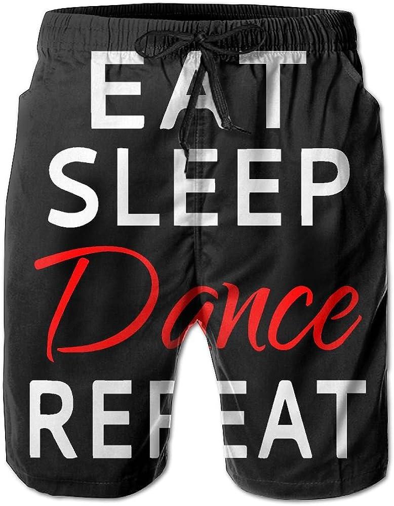 BSKZ@SH Mens Board Shorts Fashion Eat Sleep Dance Repeat 100/% Polyester Workout Shorts