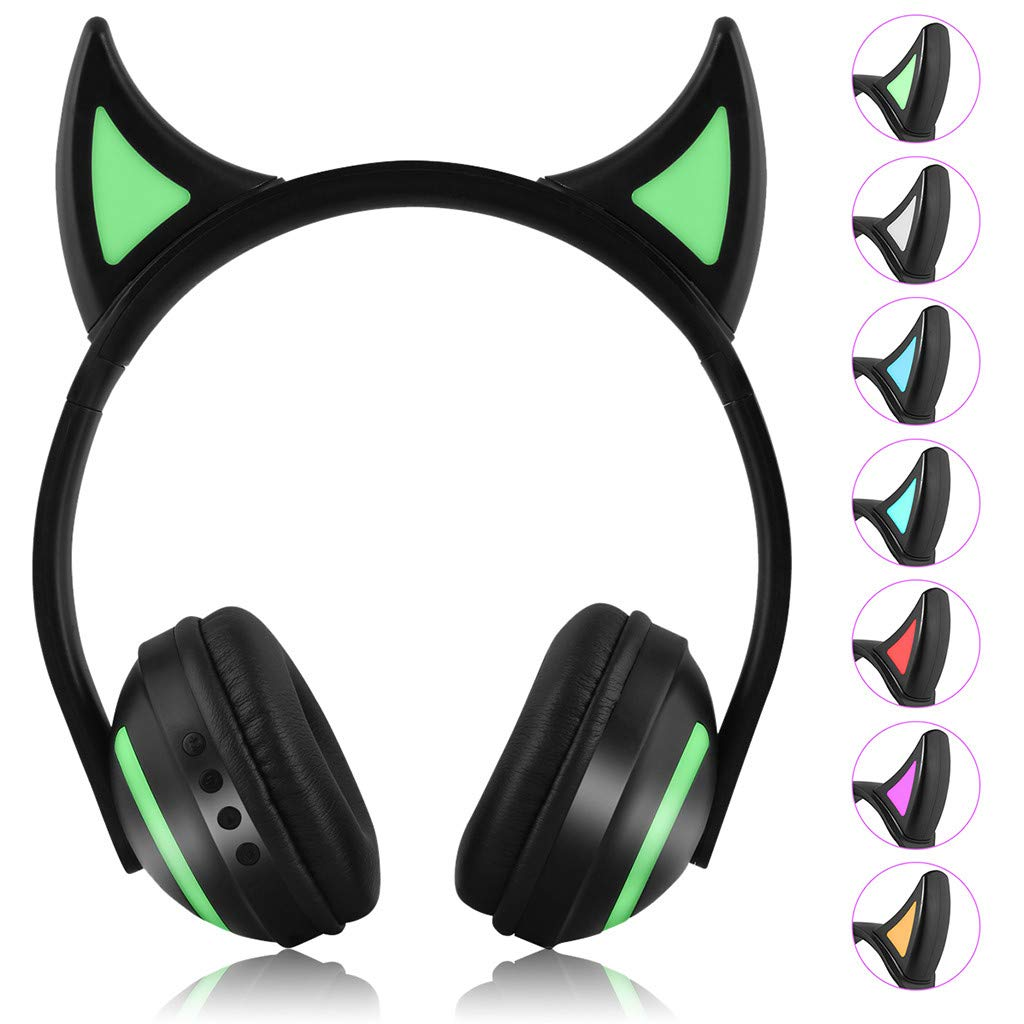 HAHAP Bluetooth Headphones Over Ear,Little Devil LED Seven-Color Illuminated Stereo Headphone Bluetooth Headset for PC/Cell Phones/TV