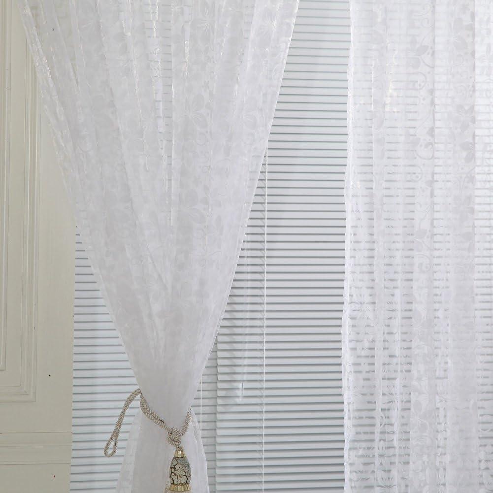 La Cabina 100*200 cm Rideaux Voilage Fen/être D/écoration avec Cinq Feuilles Fleurs Sheer Voile Porte Rideaux