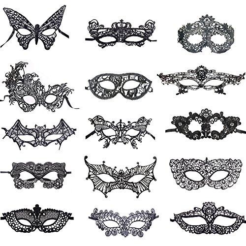 BAWASEEHI Sexy Black Lace Masquerade Masks for Women Venetian Style Eye Mask for Costume Ball Halloween Party, 15 -