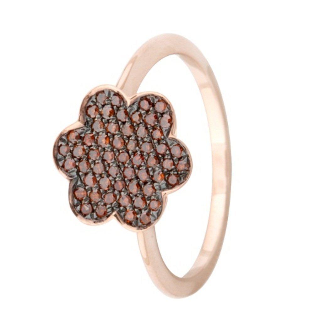 10k Rose Gold Prism Jewel 0.27 Carat Red Diamond Cluster Ring