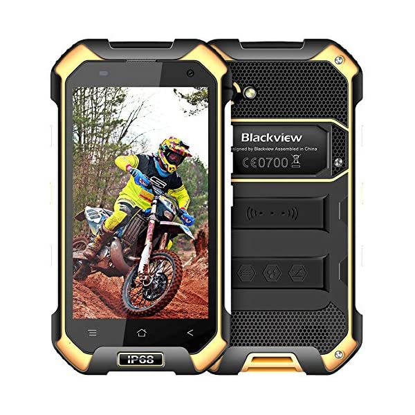 Rugged Smartphone Unlocked Cell Phones, Blackview BV6000s 4G IP68 Waterproof Unlocked Smartphone 2GB+16GB 4.7 Inches FHD+IPS 4500mAh Battery Android 7.0 Dual SIM AT&T T-Mobile Cell Phones, Yellow