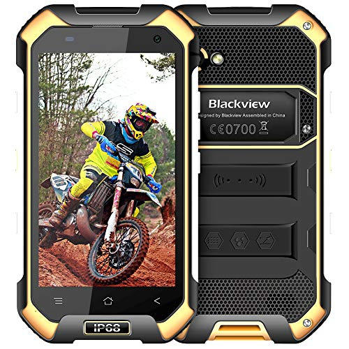Rugged Smartphone Unlocked Cell Phones, Blackview BV6000s 4G IP68 Waterproof Unlocked Smartphone 2GB+16GB 4.7 Inches FHD+IPS 4500mAh Battery Android 7.0 Dual SIM AT&T T-Mobile Cell Phones, Yellow (Phones Network Dual)