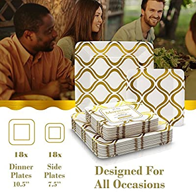 Moroccan Collection Heavyweight Paper Dinner and Side Plates - Disposable Square Metallic Moroccan Plate Dinnerware Set - Perfect for Formal Dinners, Parties, and Events (Set of 36)