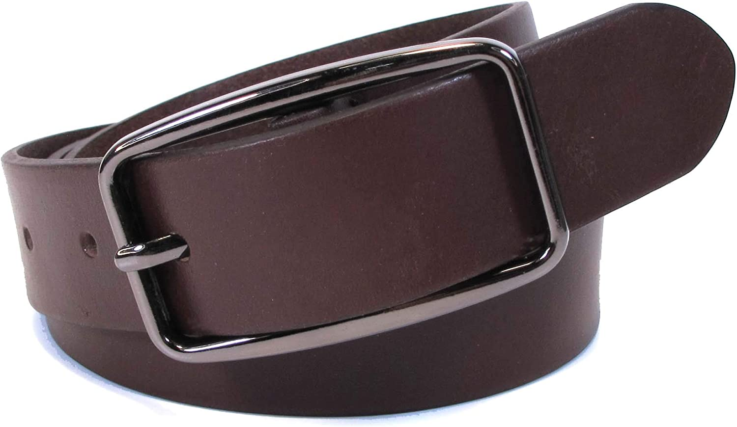 Mens Real Genuine Leather Dark Brown Belt 1.1 Wide S-L Thick Casual Jeans CM0