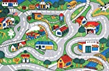 8X11 Area Rug Kids Play Road Map Street Country Driving Time Size7'10''X11'3''