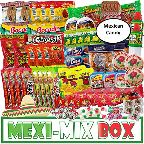 Mexi-Mix Box Candy 78 Count Assortment Mexican Candy Care Package Variety of Spicy Candy Box Gift Bulk Dulces Mexicanos Snack Include: Obleas Duvalin Lucas Vero Mango Pulparindo Pelon De la Rosa
