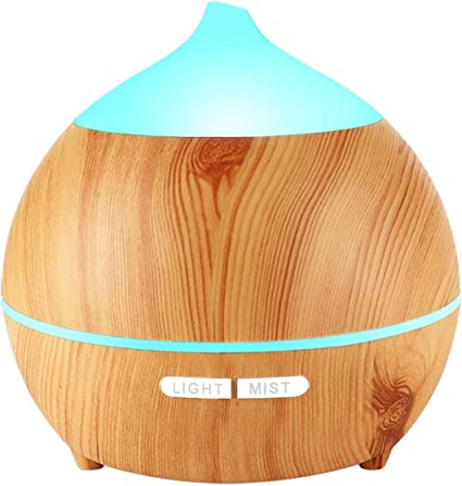 BZseed Aromatherapy Essential Oil Humidifier 550ml 12 Hours High Output for Large Room, Home, Waterless Auto Off, 7 Color LED Lights Wood Grain