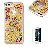 Funyye Liquid Mirror Case for Huawei P Smart,Stylish Yellow Sparkle Quicksand Love Hearts Design Slim Fit Hard PC Case for Huawei P Smart,Crystal Rubber Durable Shell Bumper Back Protective Case for Huawei P Smart + 1 x Free Screen Protector