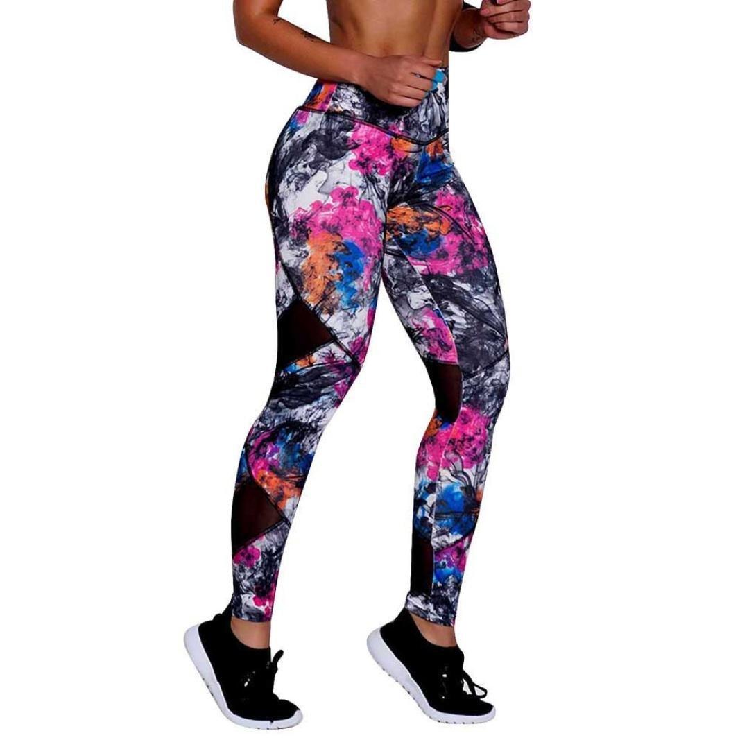 ❤️Pantalones de Mujer Malla de Empalme Impresa,Imprimir Deportes Gym Yoga Running Fitness Leggings Athletic Trouser Absolute