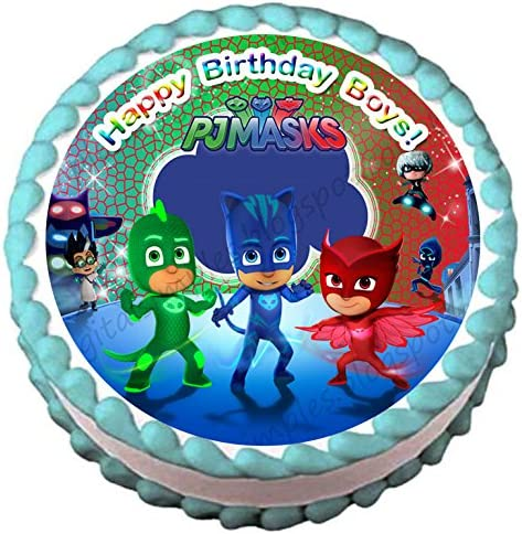 Pj Mask Edible Image Cake Topper Round Shape Frosting Sheet 5 Round Amazon Com Grocery Gourmet Food