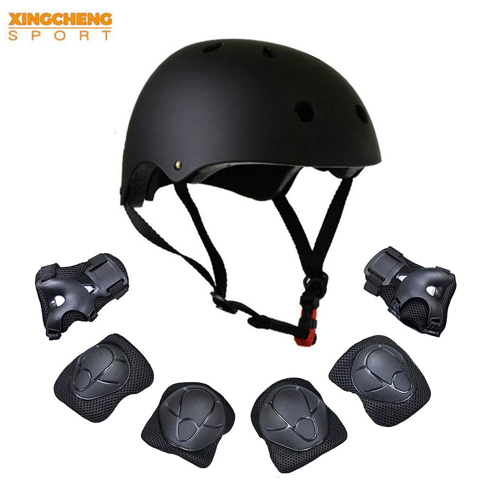 Kids Multi-Sport Helmet With Knee&Elbow Pads and Wrists 7 Pieces Kids Boys and Girls Outdoor Sports Safety Protective Gear Set for Skateboard Cycling Skate Scooter(4-8 Years Old) (Black)
