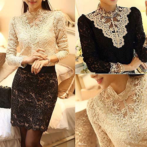 Hylong Fashion Women Sexy Long Sleeve Shirt Casual Lace Blouse Loose Cotton Top T Shirt Black S