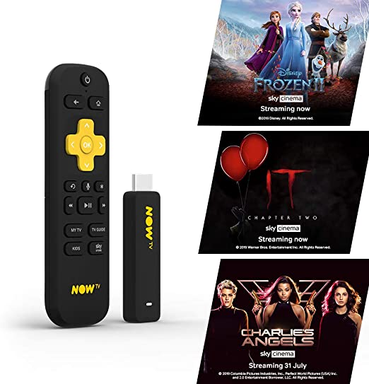 NOW TV Smart Stick with 1 month Sky Cinema Pass HD Streaming Media Player - Watch Disney+, YouTube, Netflix, BBC iPlayer and more: Amazon.es: Hogar